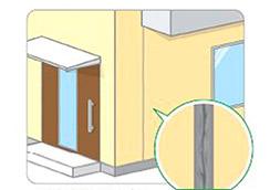目地(外壁間の継ぎ目)のシーリングが傷んでいる。